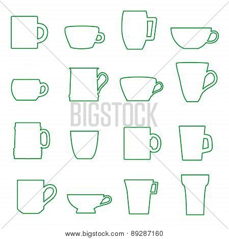 Mugs And Cups Black Outline Icons Set Eps10