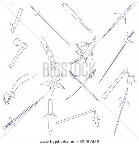 Cold Steel Weapons Simple Outline Icons Eps10