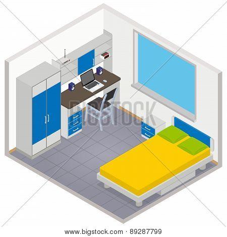 Vector isometric children room icon