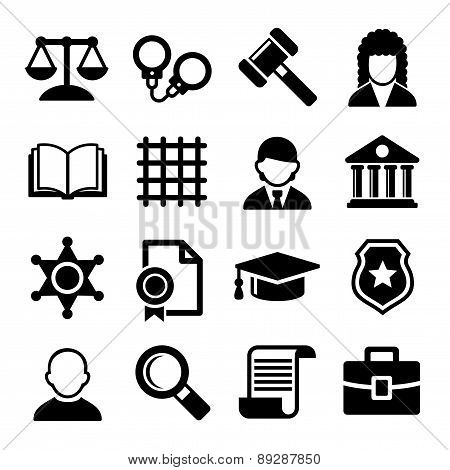 Law and Justice Icons Set. Vector