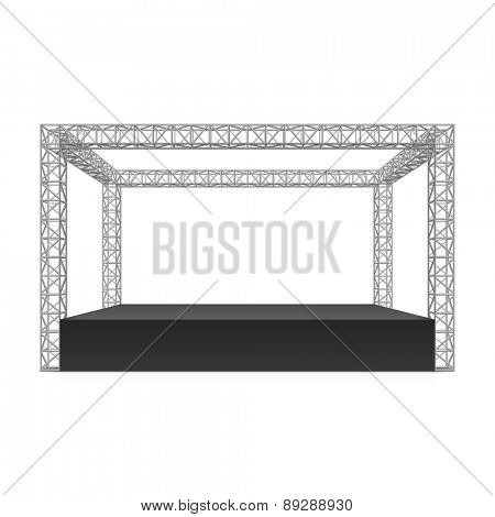 Outdoor festival stage, truss system. Vector.