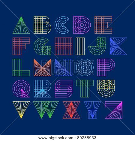 Geometric shapes linear alphabet. Vector.