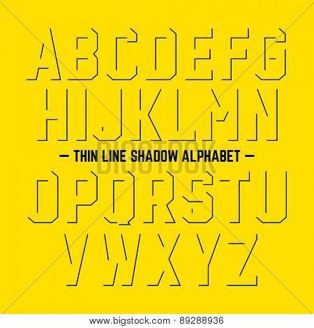 Thin line shadow alphabet. Vector.