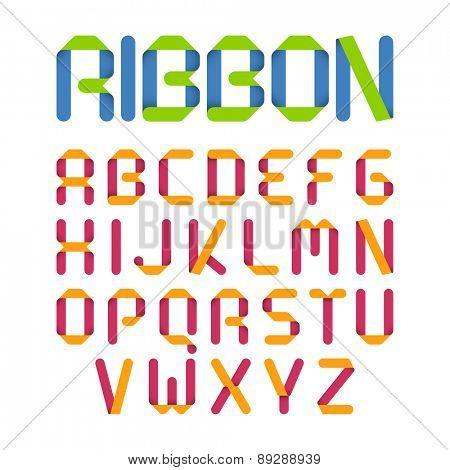 Ribbon alphabet. Vector.