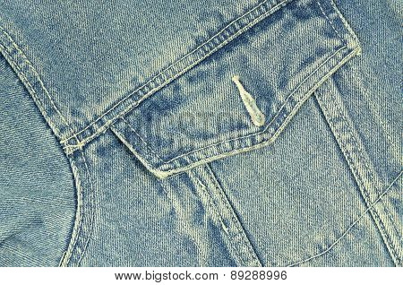 Blue Denim Jacket with Pocket, Detail, horizontal