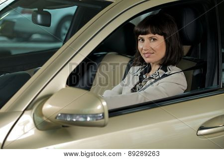 Young woman sitting in new car and smiling, portrait