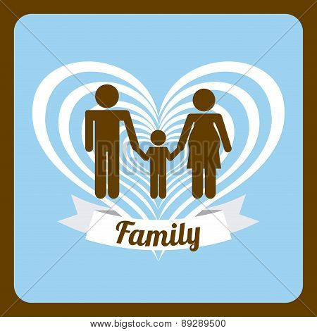Family design over brown  background vector illustration