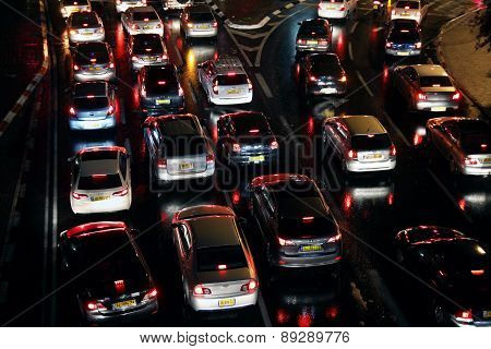 Cars Are In A Traffic Jam