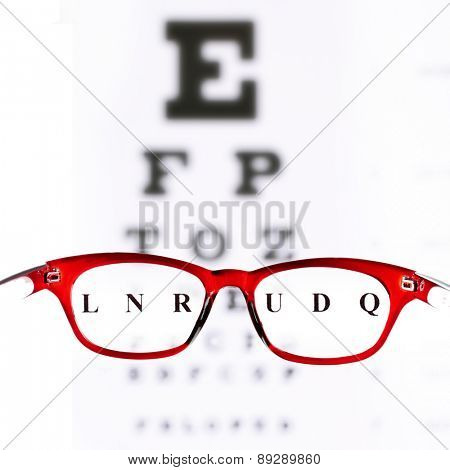 Eye glasses on eyesight test chart background