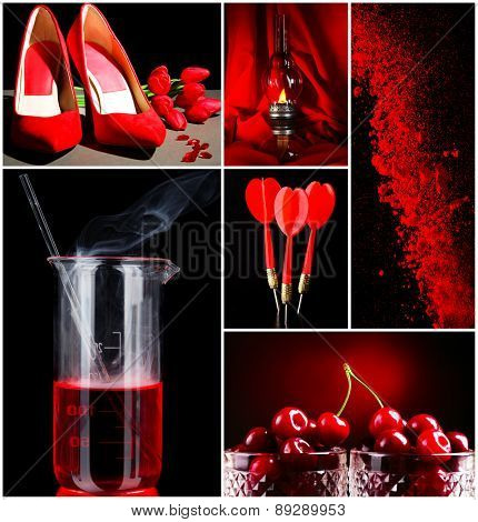 Red color images in collage