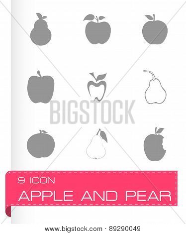 Vector apple and pear icons set