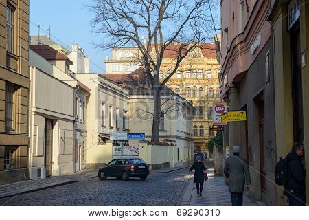 View Of Ruzova Street Toward Corner Jindrisska Street, Prague, Czech.
