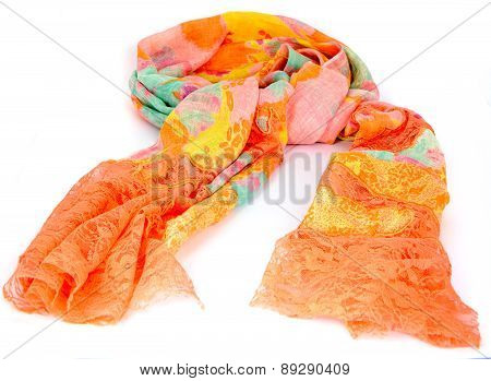 Colorful indian scarf isolated