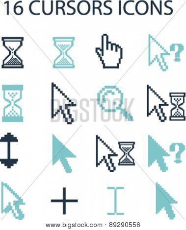 16 cursors, interface, pixel, mouse, question, select isolated icons, signs, illustrations website, internet mobile design concept set, vector
