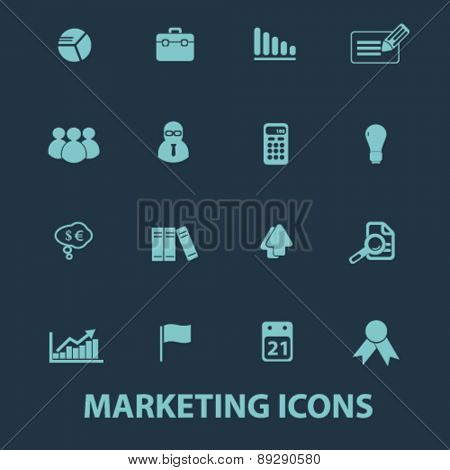 marketing, management, presentation isolated icons, signs, illustrations website, internet mobile design concept set, vector