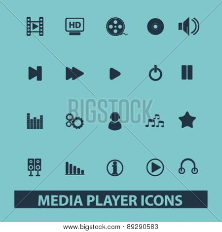 media player, music, audio isolated icons, signs, illustrations website, internet mobile design concept set, vector