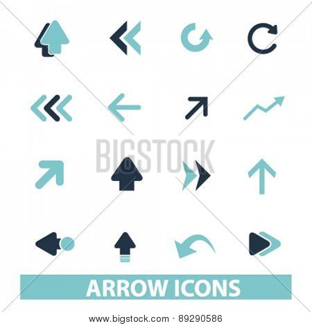 arrow, direction isolated web, internet, mobile, applcation icons, signs, illustrations design concept set, vector