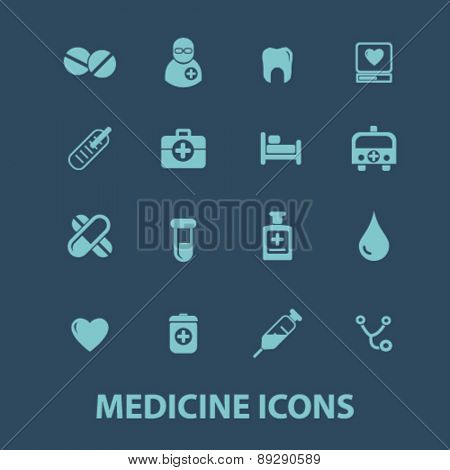 medicine, health, hospital isolated icons, signs, illustrations website, internet mobile design concept set, vector