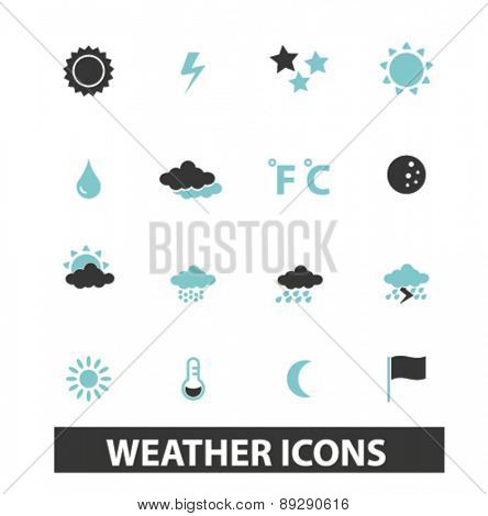 weather, climate isolated icons, signs, illustrations website, internet mobile design concept set, vector