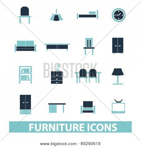 furniture, interior, room isolated icons, signs, illustrations website, internet mobile design concept set, vector