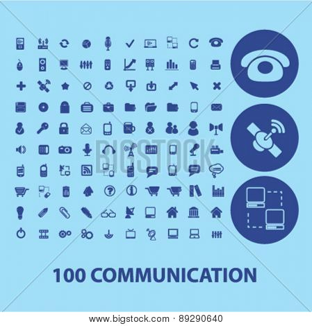100 communication, connection, technology isolated web, internet, mobile, applcation icons, signs, illustrations design concept set, vector