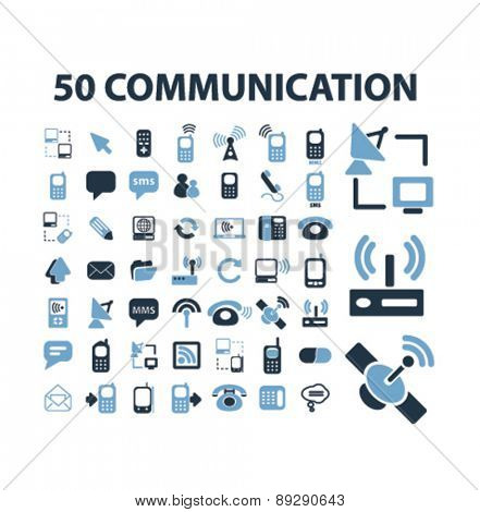 50 communication, technology, connection, network isolated icons, signs, illustrations website, internet mobile design concept set, vector