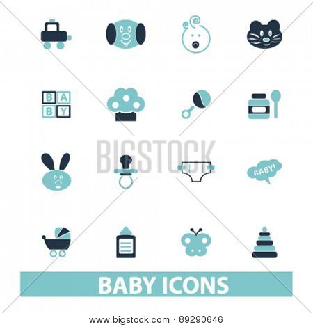 baby, children, kid, toys isolated icons, signs, illustrations website, internet mobile design concept set, vector