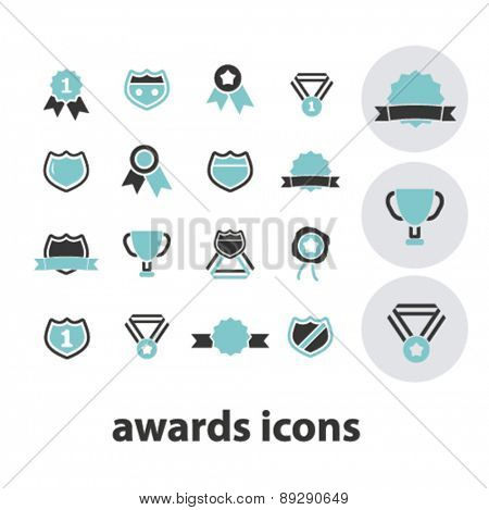 awards, victory, trophy isolated icons, signs, illustrations website, internet mobile design concept set, vector
