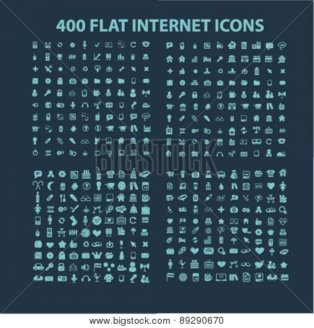 400 flat internet, business, communication, connection, media, application isolated icons, signs, illustrations website, internet mobile design concept set, vector