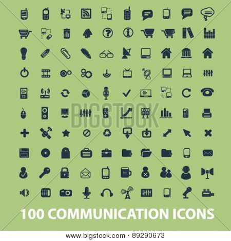 100 communication, connection, technology, phone, network isolated icons, signs, illustrations website, internet mobile design concept set, vector
