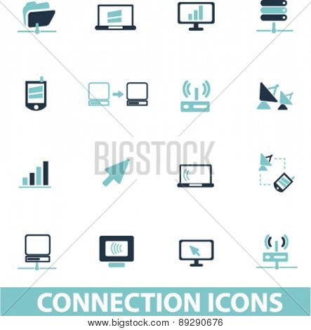 connection, network, phone, smartphone, technology isolated icons, signs, illustrations website, internet mobile design concept set, vector