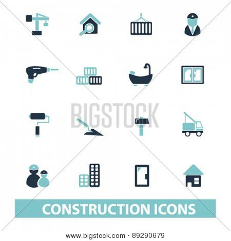 construction, room, architecture isolated icons, signs, illustrations website, internet mobile design concept set, vector