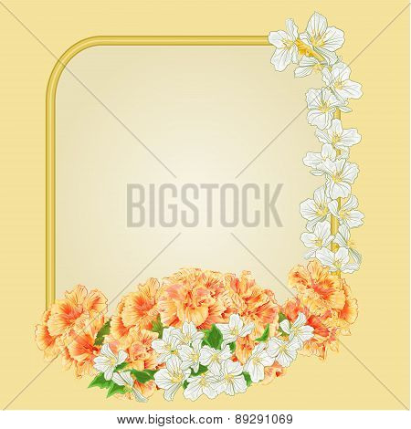 Golden Frame Yellow Hibiscus And Jasmine Vector