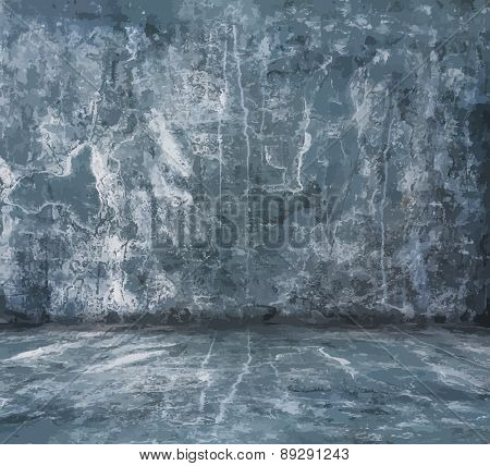 old grunge room with concrete wall, urban background, vector