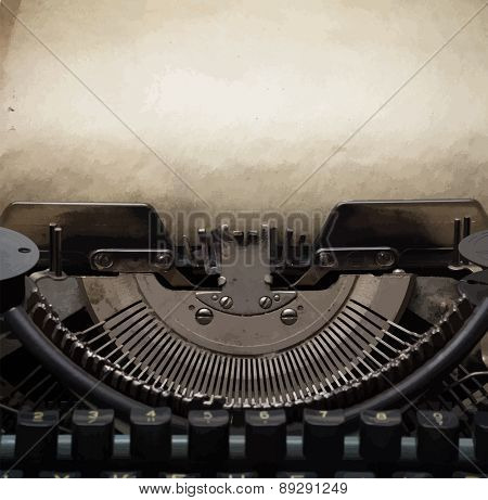 old retro typewriter with paper, vector