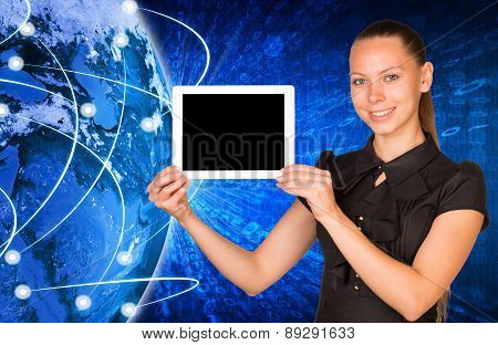 Young woman holging tablet with black screen
