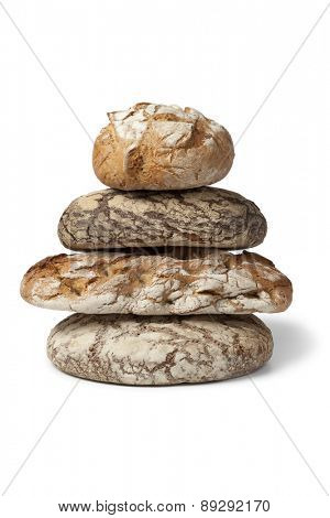 Variety of traditional german bread on white background