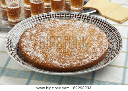 Fresh baked Moroccan Yogurt Cake and tea for visitors