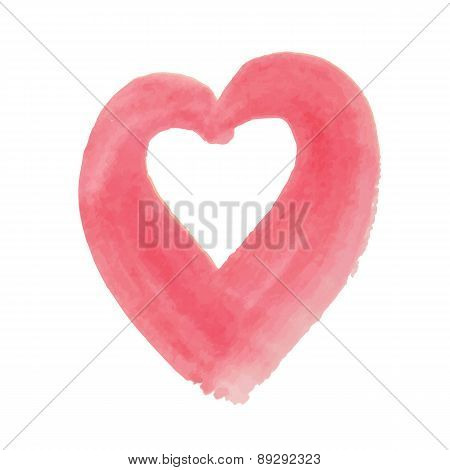 Watercolor hand drawn heart.