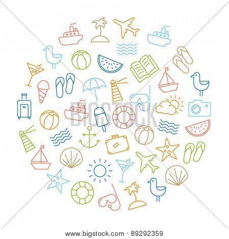 Background with icons representing summer, holidays and relaxing on the beach. Modern, thin lines style design.