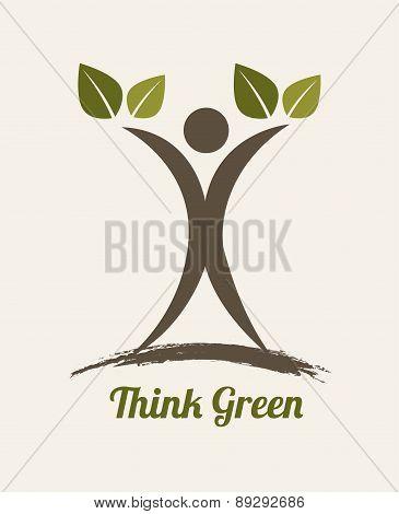 eco design over beige background vector illustration