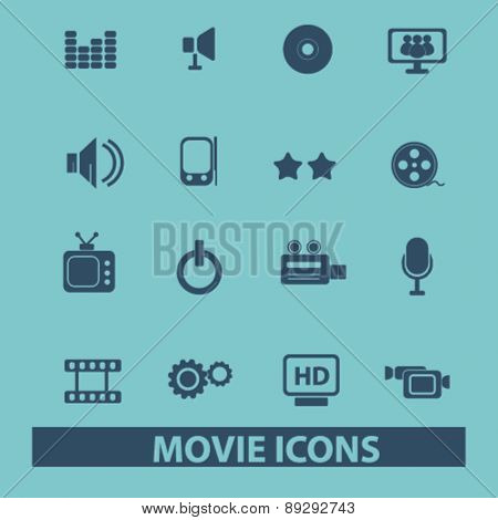 movie, media, cinema, video isolated icons, signs, illustrations website, internet mobile design concept set, vector