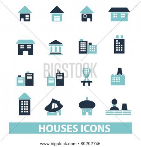 houses, buildings, real estate isolated icons, signs, illustrations website, internet mobile design concept set, vector