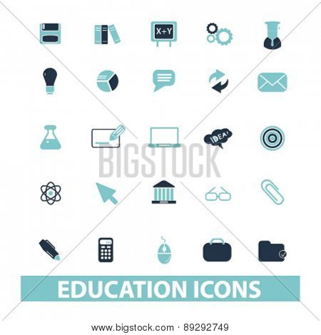 education, school, study, lesson isolated icons, signs, illustrations website, internet mobile design concept set, vector
