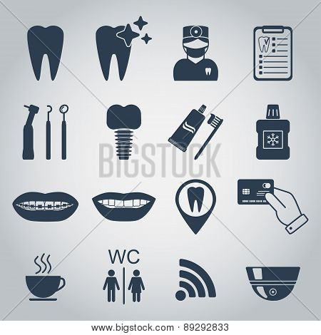 Dental Icons. Silhouette. Vector