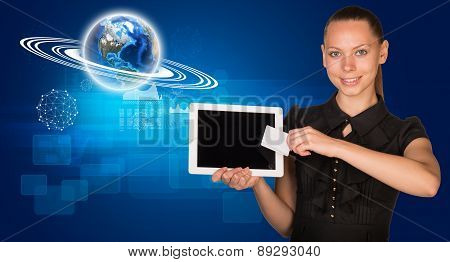Businesswoman balck dress with Earth model