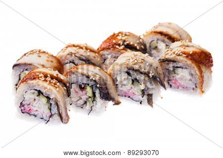 Rolls with eel, snow crab, cream cheese and cucumber isolated on white background