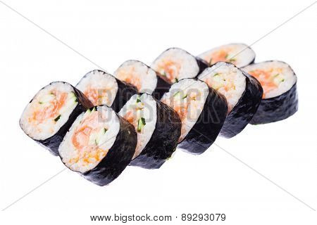 Salmon and caviar rolls isolated on white background