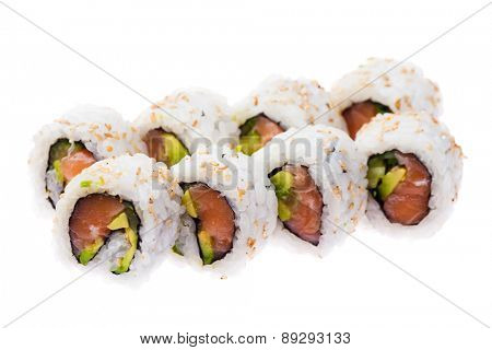 Salmon, avocado and cucumber rolls isolated on white background