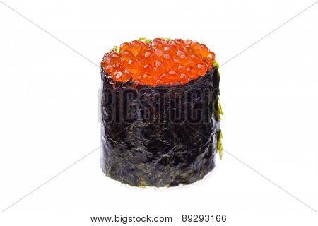 Red caviar sushi isolated on white background
